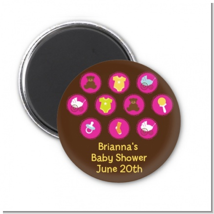 Baby Icons Pink - Personalized Baby Shower Magnet Favors