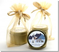 Baby Mountain Trail - Baby Shower Gold Tin Candle Favors