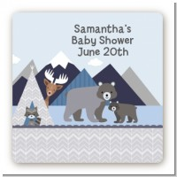 Baby Mountain Trail - Square Personalized Baby Shower Sticker Labels