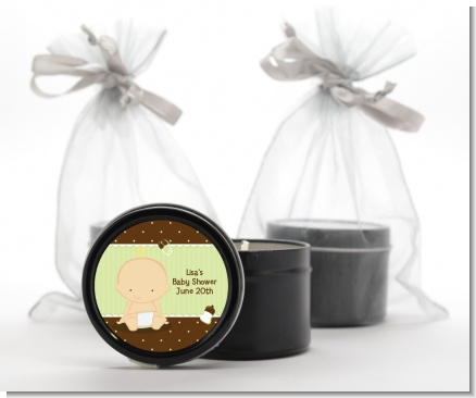 Baby Neutral Caucasian - Baby Shower Black Candle Tin Favors