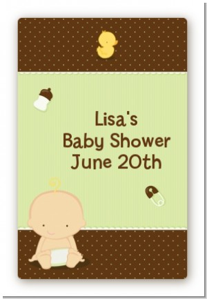 Baby Neutral Caucasian - Custom Large Rectangle Baby Shower Sticker/Labels