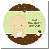Baby Neutral Caucasian - Round Personalized Baby Shower Sticker Labels