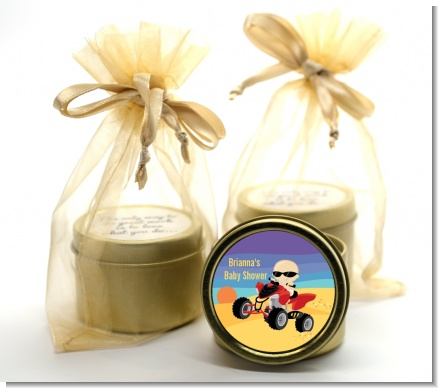 Baby On A Quad - Baby Shower Gold Tin Candle Favors