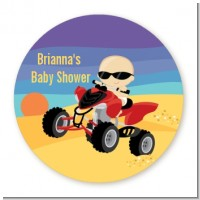 Baby On A Quad - Round Personalized Baby Shower Sticker Labels