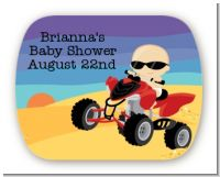 Baby On A Quad - Personalized Baby Shower Rounded Corner Stickers
