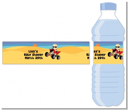 Baby On A Quad - Personalized Baby Shower Water Bottle Labels
