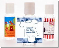 Baby Outfit Blue Camo - Personalized Baby Shower Hand Sanitizers Favors
