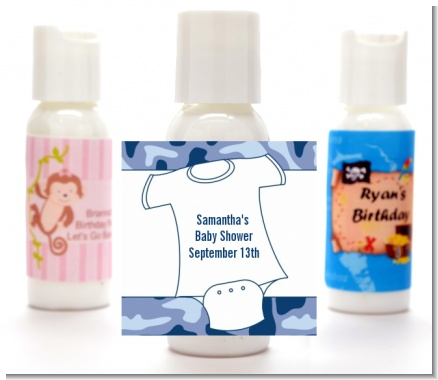 Baby Outfit Blue Camo - Personalized Baby Shower Lotion Favors