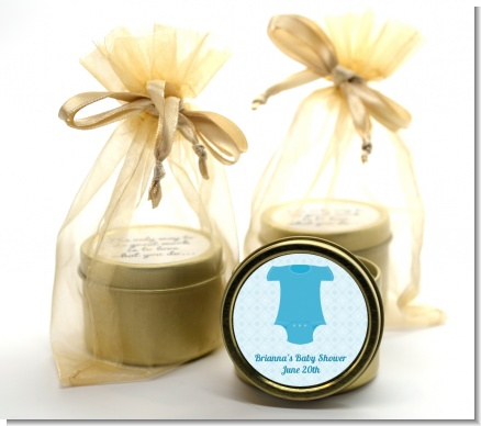Baby Outfit Blue - Baby Shower Gold Tin Candle Favors