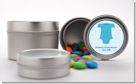 Baby Outfit Blue - Custom Baby Shower Favor Tins