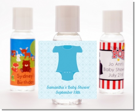 Baby Outfit Blue - Personalized Baby Shower Hand Sanitizers Favors