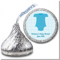 Baby Outfit Blue - Hershey Kiss Baby Shower Sticker Labels