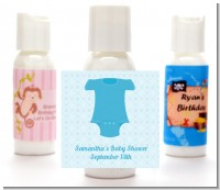 Baby Outfit Blue - Personalized Baby Shower Lotion Favors