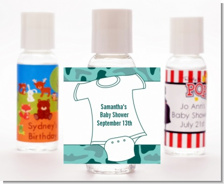 Baby Outfit Green Camo - Personalized Baby Shower Hand Sanitizers Favors