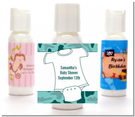 Baby Outfit Green Camo - Personalized Baby Shower Lotion Favors