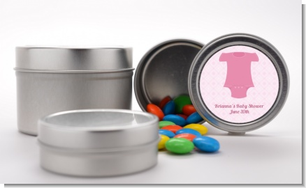 Baby Outfit Pink - Custom Baby Shower Favor Tins