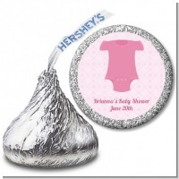 Baby Outfit Pink - Hershey Kiss Baby Shower Sticker Labels
