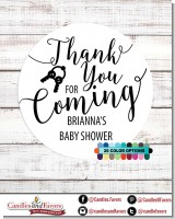 Thank You For Coming - Round Personalized Baby Shower Sticker Labels