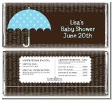 Baby Sprinkle Umbrella Blue - Personalized Baby Shower Candy Bar Wrappers