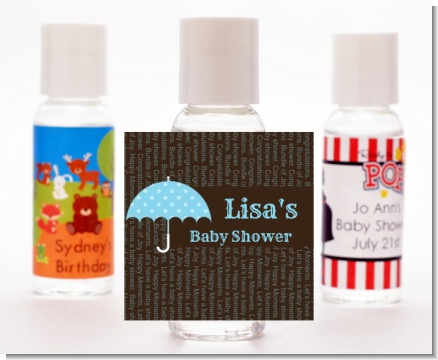 Baby Sprinkle Umbrella Blue - Personalized Baby Shower Hand Sanitizers Favors
