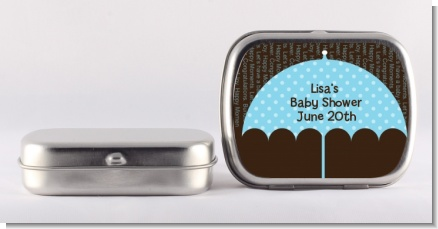 Baby Sprinkle Umbrella Blue - Personalized Baby Shower Mint Tins