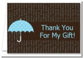 Baby Sprinkle Umbrella Blue - Baby Shower Thank You Cards