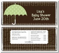 Baby Sprinkle Umbrella Green - Personalized Baby Shower Candy Bar Wrappers