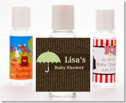 Baby Sprinkle Umbrella Green - Personalized Baby Shower Hand Sanitizers Favors