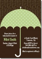 Baby Sprinkle Umbrella Green - Baby Shower Invitations