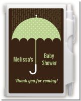 Baby Sprinkle Umbrella Green - Baby Shower Personalized Notebook Favor