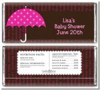 Baby Sprinkle Umbrella Pink - Personalized Baby Shower Candy Bar Wrappers