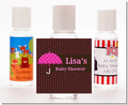 Baby Sprinkle Umbrella Pink - Personalized Baby Shower Hand Sanitizers Favors
