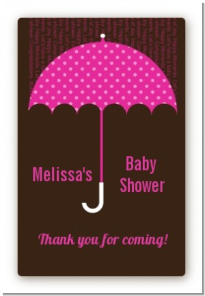 Baby Sprinkle Umbrella Pink - Custom Large Rectangle Baby Shower Sticker/Labels