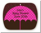 Baby Sprinkle Umbrella Pink - Personalized Baby Shower Rounded Corner Stickers