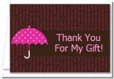 Baby Sprinkle Umbrella Pink - Baby Shower Thank You Cards