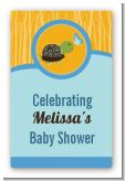 Baby Turtle Blue - Custom Large Rectangle Baby Shower Sticker/Labels