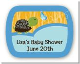 Baby Turtle Blue - Personalized Baby Shower Rounded Corner Stickers