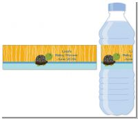 Baby Turtle Blue - Personalized Baby Shower Water Bottle Labels