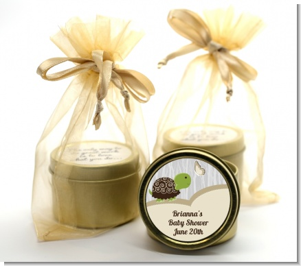 Baby Turtle Neutral - Baby Shower Gold Tin Candle Favors