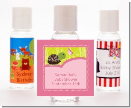Baby Turtle Pink - Personalized Baby Shower Hand Sanitizers Favors