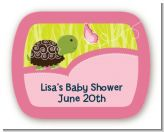Baby Turtle Pink - Personalized Baby Shower Rounded Corner Stickers