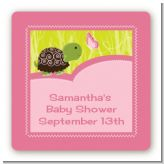 Baby Turtle Pink - Square Personalized Baby Shower Sticker Labels