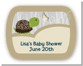 Baby Turtle Neutral - Personalized Baby Shower Rounded Corner Stickers