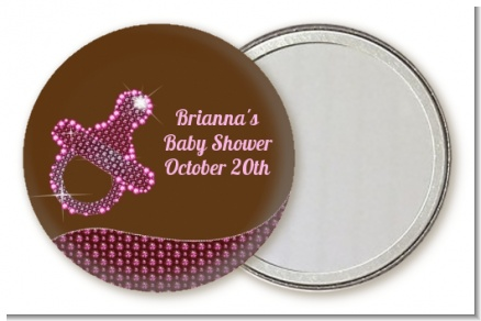 Baby Bling Pink Pacifier - Personalized Baby Shower Pocket Mirror Favors