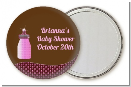 Baby Bling Pink - Personalized Baby Shower Pocket Mirror Favors