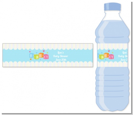 Baby Blocks Blue - Personalized Baby Shower Water Bottle Labels