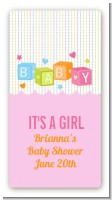 Baby Blocks Pink - Custom Rectangle Baby Shower Sticker/Labels