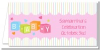 Baby Blocks Pink - Personalized Baby Shower Place Cards