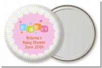 Baby Blocks Pink - Personalized Baby Shower Pocket Mirror Favors
