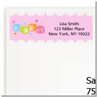 Baby Blocks Pink - Baby Shower Return Address Labels